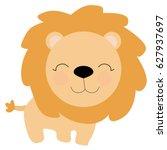 Cute Little Lion In Cartoon...