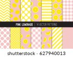 pink lemonade vector patterns.... | Shutterstock .eps vector #627940013