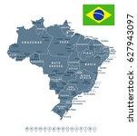 brazil map vector | Shutterstock .eps vector #627943097