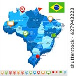 brazil map vector | Shutterstock .eps vector #627943223