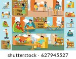people in vape cafe infographic ... | Shutterstock .eps vector #627945527