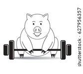 black   white pig cartoon... | Shutterstock .eps vector #627956357