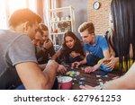 group of creative friends... | Shutterstock . vector #627961253