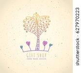 vector logo of gift shop... | Shutterstock .eps vector #627970223