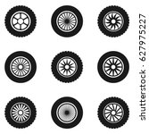 car tyre set. car wheels ... | Shutterstock .eps vector #627975227