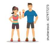 sport gym fitness couple.... | Shutterstock .eps vector #627977273