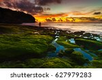 bingin beach at sunset  bali ... | Shutterstock . vector #627979283