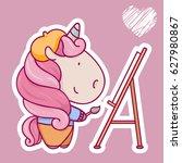 cute unusual girl cartoon... | Shutterstock .eps vector #627980867