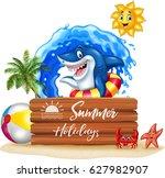 summer background with shark...   Shutterstock .eps vector #627982907