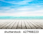empty wooden table with party... | Shutterstock . vector #627988223