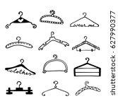 doodle clothes hangers set.... | Shutterstock .eps vector #627990377