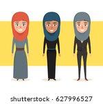 set of arab woman avatar... | Shutterstock .eps vector #627996527