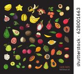 exotic tropical fruits hand... | Shutterstock .eps vector #628001663