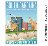 south carolina travel poster or ... | Shutterstock .eps vector #628010177