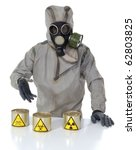 The person in a protective suit and biologically dangerous, radioactive and toxic canned - stock photo