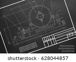 mechanical drawings on a  white ... | Shutterstock .eps vector #628044857