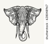 elephant head in henna style.... | Shutterstock .eps vector #628048967