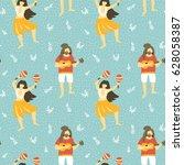 seamless vector hawaii pattern. ... | Shutterstock .eps vector #628058387