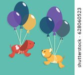 dogs and balloons | Shutterstock .eps vector #628060523