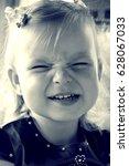 funny portrait of little girl ...   Shutterstock . vector #628067033