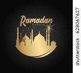 ramadan kareem mosque vector...   Shutterstock .eps vector #628067627