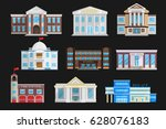 buildings set isolated in flat... | Shutterstock .eps vector #628076183