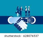 human vs robot shake hand.... | Shutterstock .eps vector #628076537