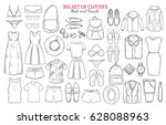 sketch monochrome clothes icons ... | Shutterstock .eps vector #628088963