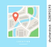 location map flat design vector ... | Shutterstock .eps vector #628093193