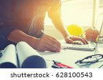 architect man working with... | Shutterstock . vector #628100543