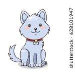cute cartoon dog with collar.... | Shutterstock .eps vector #628101947