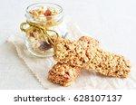 muesli bars with fruit crunchy | Shutterstock . vector #628107137