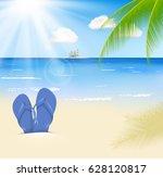summer beach with a sun  palm...   Shutterstock .eps vector #628120817