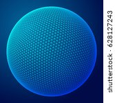 abstract wireframe sphere.... | Shutterstock .eps vector #628127243