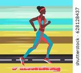 running woman at high speed... | Shutterstock .eps vector #628128437