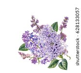 watercolor hand painted lilac....   Shutterstock . vector #628133057