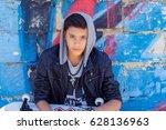 stylish teenager boy wearing... | Shutterstock . vector #628136963