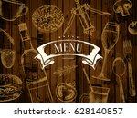 restaurant menu design. vector... | Shutterstock .eps vector #628140857