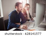 software engineers working on... | Shutterstock . vector #628141577