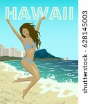poster with woman at waikiki... | Shutterstock .eps vector #628145003