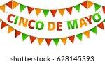 cinco de mayo colorful bunting... | Shutterstock .eps vector #628145393