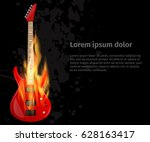 guitar in fire on black grunge... | Shutterstock .eps vector #628163417