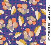 seamless floral pattern with... | Shutterstock . vector #628165457