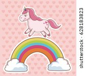 character unicorn rainbow cloud ... | Shutterstock .eps vector #628183823