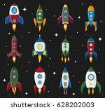 vector retro space rocket ship... | Shutterstock .eps vector #628202003