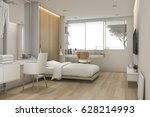 3d rendering white bedroom with ... | Shutterstock . vector #628214993