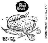 steak house. hand drawn beef... | Shutterstock .eps vector #628267577