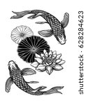 hand drawn ethnic fish  koi... | Shutterstock .eps vector #628284623