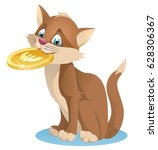 funny cat holding euro coin....   Shutterstock .eps vector #628306367