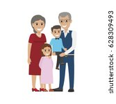aged couple and grandson with... | Shutterstock .eps vector #628309493